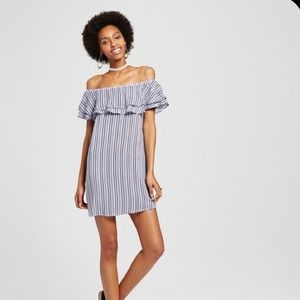 Almost famous striped ruffle off shoulder dress